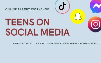 Tuesday, June 15 – Parent Workshop – Teens on Social Media